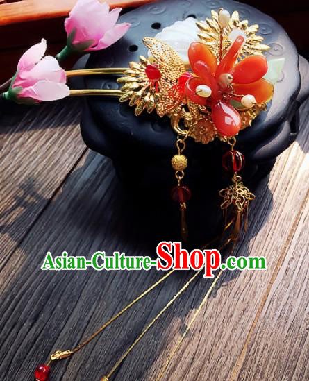 Chinese Handmade Ancient Red Flower Hair Clip Palace Hair Accessories Hanfu Hairpins for Women