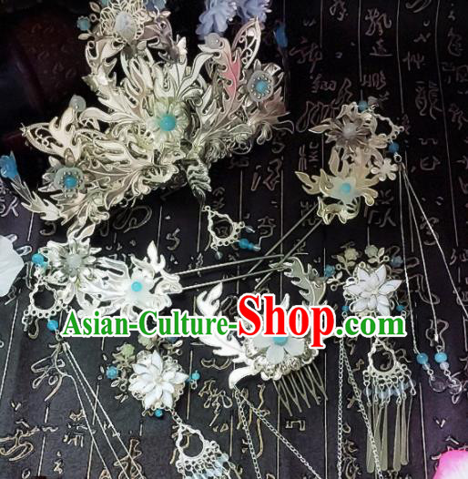 Chinese Handmade Ancient Palace Hair Accessories Hanfu Phoenix Coronet Hairpins Complete Set for Women