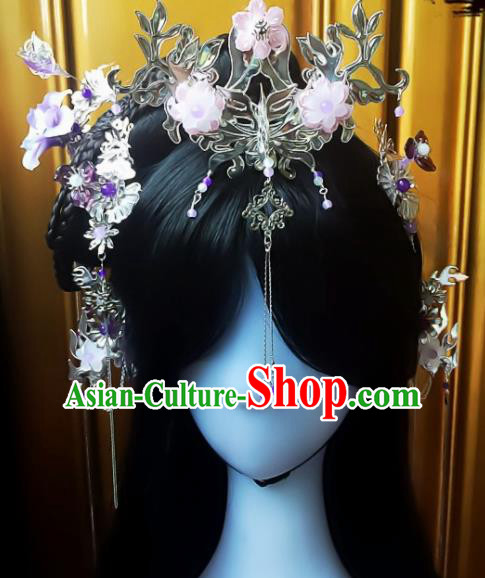 Chinese Handmade Ancient Princess Hair Accessories Hanfu Phoenix Coronet Hairpins Complete Set for Women
