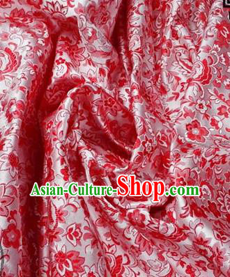 Asian Chinese Traditional Tang Suit Fabric Brocade Silk Material Classical Cherry Blossom Pattern Design Drapery