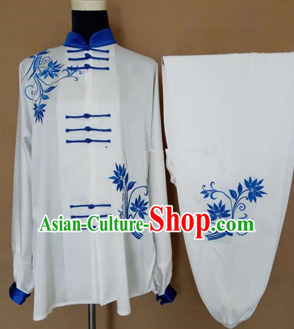 Chinese Traditional Kung Fu Martial Arts Embroidered Costumes Tai Chi Training Clothing for Women