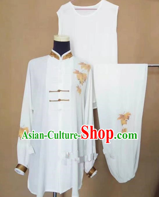 Chinese Traditional Martial Arts Printing Maple Leaf Costumes Tai Chi Tai Ji Training Clothing for Adults