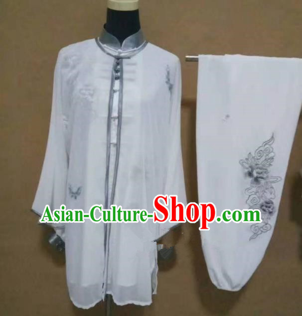 Chinese Traditional Martial Arts Embroidered Peony Costumes Tai Chi Tai Ji Training Clothing for Adults