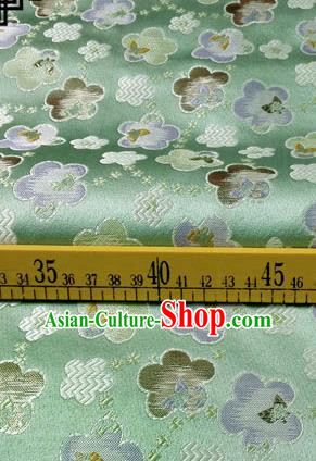 Asian Chinese Traditional Tang Suit Fabric Green Brocade Silk Material Classical Cherry Blossom Pattern Design Drapery