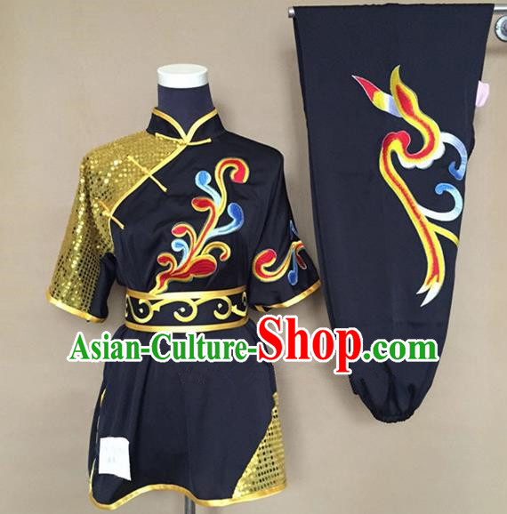 Chinese Traditional Martial Arts Black Costumes Tai Chi Kung Fu Training Clothing for Adults