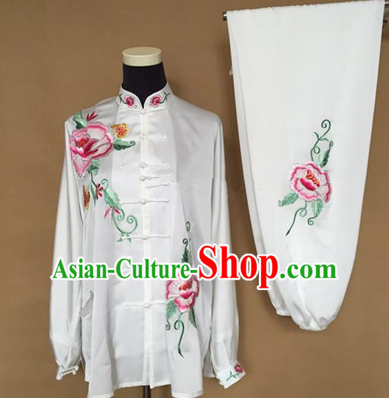 Chinese Traditional Kung Fu Martial Arts Embroidered Peony White Costumes Tai Chi Training Clothing for Women