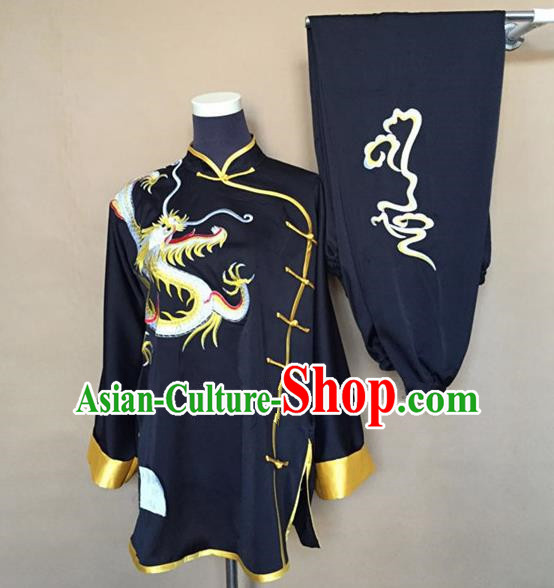 Chinese Traditional Martial Arts Black Costumes Tai Chi Kung Fu Training Embroidered Dragon Clothing for Adults