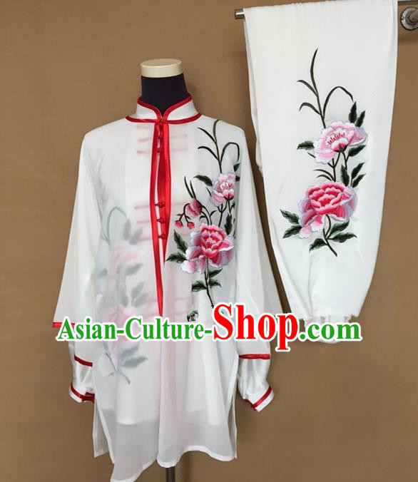 Chinese Traditional Kung Fu Martial Arts Costumes Tai Chi Training Embroidered Peony Clothing for Women