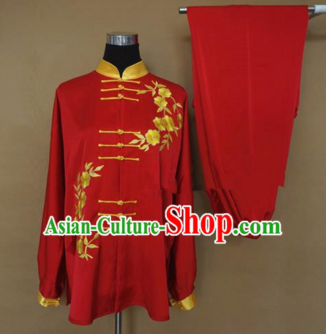 Chinese Traditional Kung Fu Martial Arts Red Costumes Tai Chi Training Clothing for Women