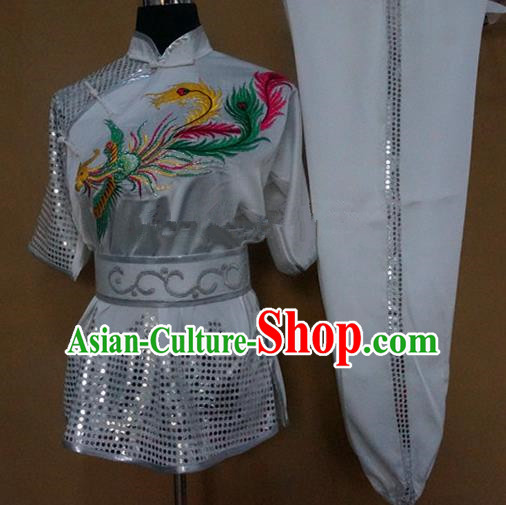 Chinese Traditional Kung Fu Martial Arts Embroidered Phoenix Costumes Tai Chi Training White Clothing for Women