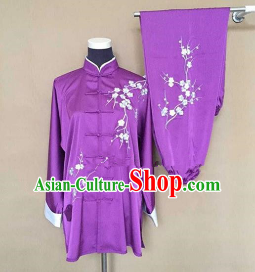 Chinese Traditional Kung Fu Embroidered Purple Costumes Martial Arts Tai Chi Training Clothing for Women