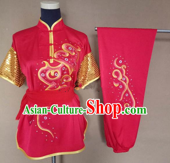 Chinese Traditional Martial Arts Embroidered Red Costumes Tai Chi Tai Ji Training Clothing for Adults