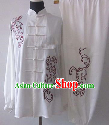 Chinese Traditional Martial Arts White Costumes Tai Chi Kung Fu Training Embroidered Clothing for Adults