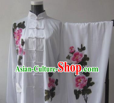 Chinese Traditional Kung Fu Printing Peony Silk Costumes Martial Arts Tai Chi Training Clothing for Women