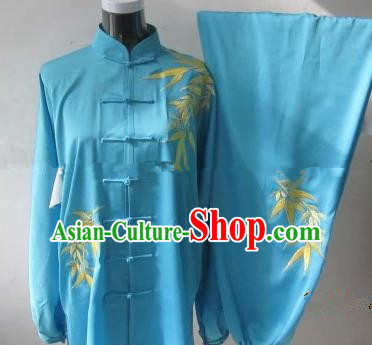 Chinese Traditional Kung Fu Embroidered Blue Silk Costumes Martial Arts Tai Chi Training Clothing for Women