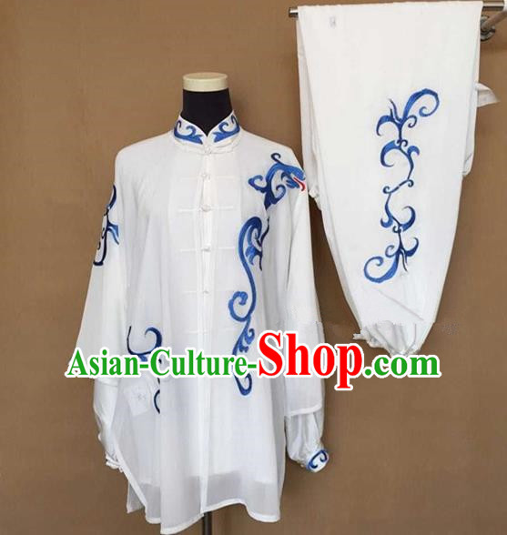 Chinese Traditional Kung Fu Silk Costumes Martial Arts Tai Chi Training Embroidered Clothing for Women