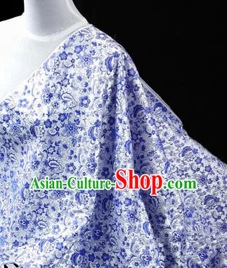 Asian Chinese Traditional Tang Suit Fabric Blue Brocade Silk Material Classical Pattern Design Drapery