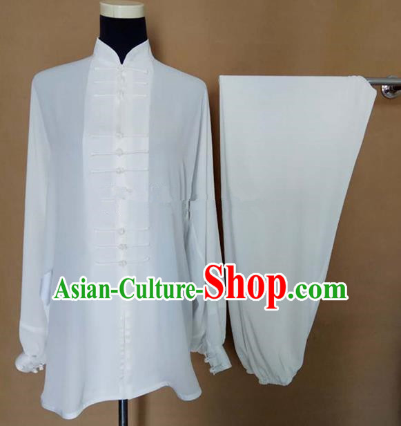 Chinese Traditional Martial Arts White Silk Costumes Tai Chi Tai Ji Training Clothing for Adults
