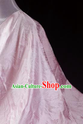 Asian Chinese Traditional Tang Suit Fabric Pink Brocade Silk Material Classical Chrysanthemum Pattern Design Drapery