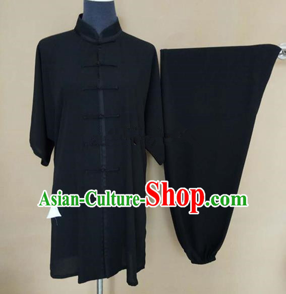 Chinese Traditional Martial Arts Black Costumes Tai Chi Tai Ji Training Clothing for Adults