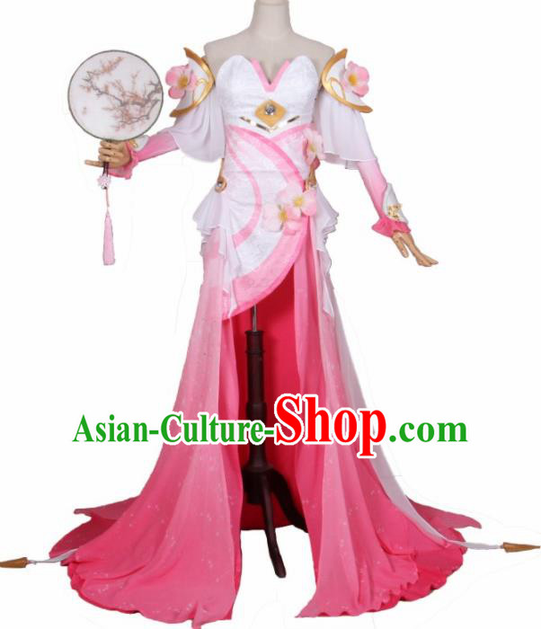 Chinese Traditional Cosplay Princess Costumes Ancient Swordswoman Pink Dress for Women