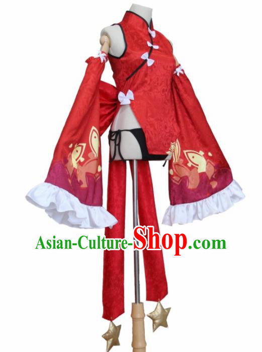 Chinese Traditional Cosplay Costumes Ancient Swordswoman Red Qipao Dress for Women