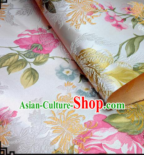 Asian Chinese Traditional Tang Suit Fabric White Brocade Silk Material Classical Peony Chrysanthemum Pattern Design Drapery