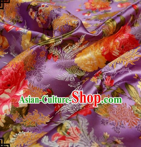 Asian Chinese Traditional Tang Suit Fabric Purple Brocade Silk Material Classical Peony Chrysanthemum Pattern Design Drapery