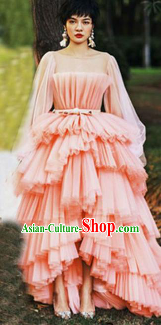 Top Performance Catwalks Costumes Wedding Pink Full Dress for Women