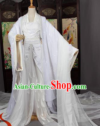 Chinese Traditional Cosplay Swordswoman Costumes Ancient Fairy Peri White Hanfu Dress for Women