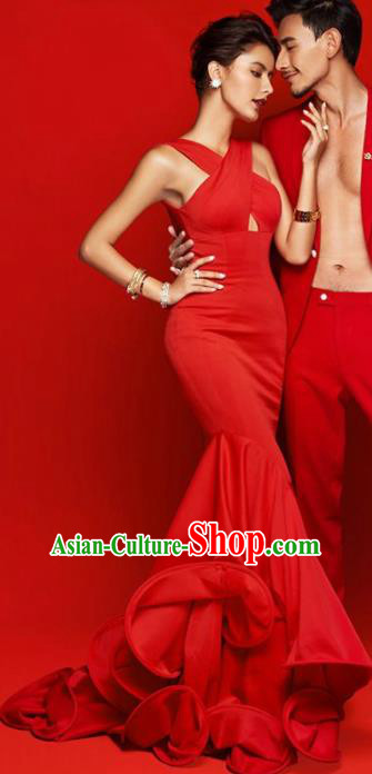 Top Performance Catwalks Costumes Wedding Red Full Dress for Women