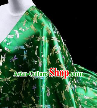 Asian Chinese Traditional Tang Suit Fabric Deep Green Brocade Silk Material Classical Dragonfly Pattern Design Drapery
