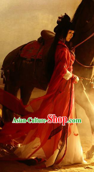 Chinese Traditional Cosplay Swordswoman Red Costumes Ancient Princess Hanfu Dress for Women
