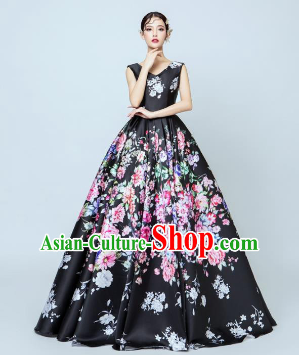 Top Performance Catwalks Costumes Wedding Printing Black Full Dress for Women