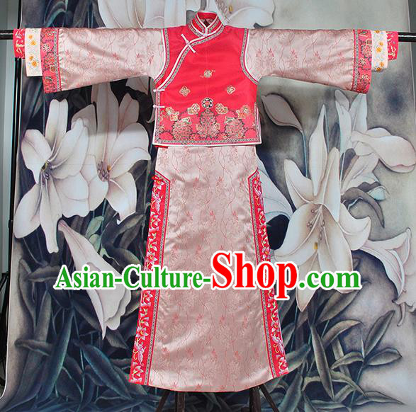 Chinese Traditional Embroidered Costumes Ancient Qing Dynasty Princess Manchu Clothing for Women