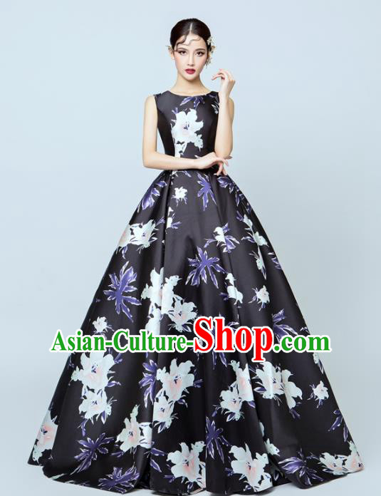 Top Performance Catwalks Costumes Wedding Printing Flowers Black Full Dress for Women