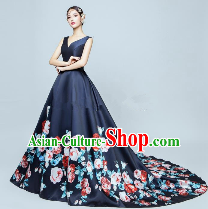 Top Performance Catwalks Costumes Wedding Printing Rose Navy Full Dress for Women