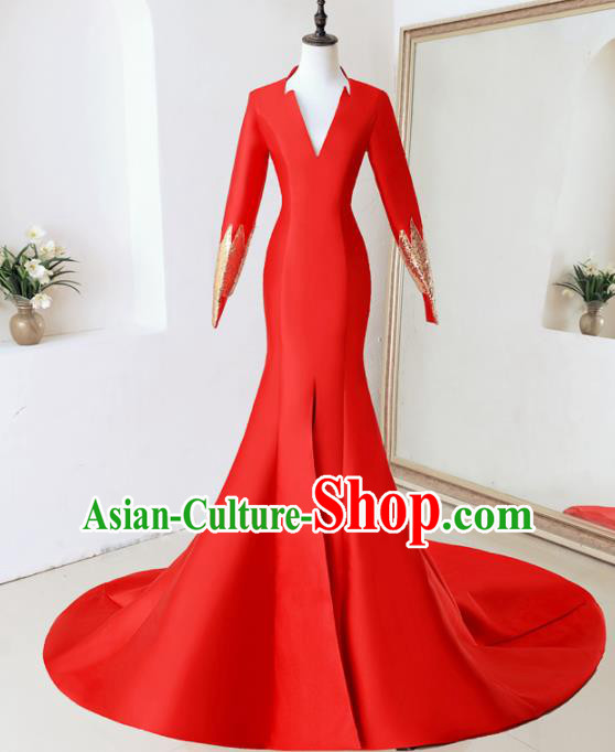 Top Performance Catwalks Costumes Wedding Red Trailing Full Dress for Women