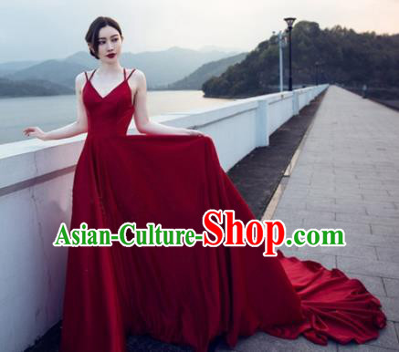Top Performance Catwalks Costumes Wedding Wine Red Full Dress for Women