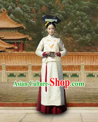 Chinese Traditional Costumes Ancient Qing Dynasty Princess Embroidered Clothing for Women