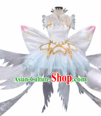 Top Grade Chinese Cosplay Magical Fairy Costumes Halloween Cartoon Characters White Bubble Dress for Women