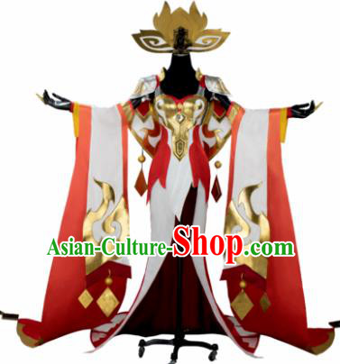 Top Grade Chinese Cosplay Queen Costumes Halloween Cartoon Characters Red Dress for Women