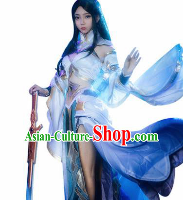 Top Grade Chinese Cosplay Fairy Princess Costumes Halloween Cartoon Characters Blue Dress for Women