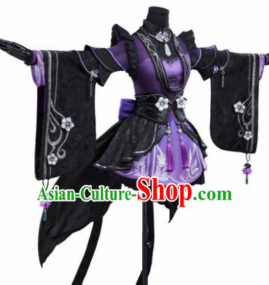 Chinese Traditional Cosplay Game Character Swordswoman Costumes Ancient Peri Hanfu Dress for Women