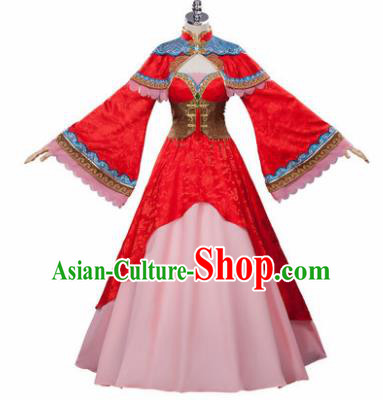 Top Grade Chinese Cosplay Princess Costumes Halloween Cartoon Characters Red Dress for Women