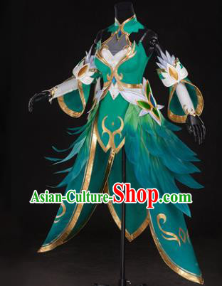 Top Grade Chinese Cosplay Princess Costumes Halloween Cartoon Characters Swordswoman Green Dress for Women