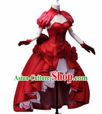Top Grade Cosplay Princess Costumes Halloween Cartoon Characters Red Dress for Women