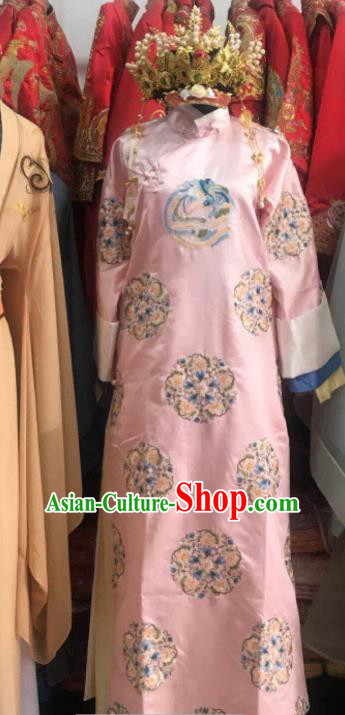 Chinese Traditional Qing Dynasty Imperial Consort Costumes Ancient Palace Lady Embroidered Pink Dress and Headpiece for Women