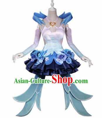 Top Grade Chinese Cosplay Princess Costumes Halloween Cartoon Characters Blue Bubble Dress for Women