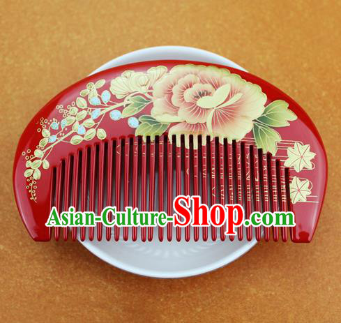 Japanese Traditional Courtesan Kimono Peony Red Hair Comb Ancient Geisha Hair Accessories for Women